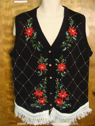 Argyle and Poinsettias Funny Christmas Sweater Vest