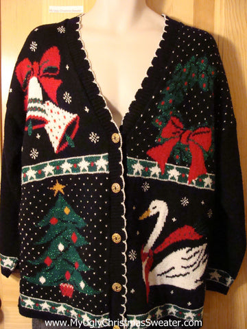 Tacky 80s Ugly Christmas Sweater with Wreath, Bells, Goose, and Tree (f588)