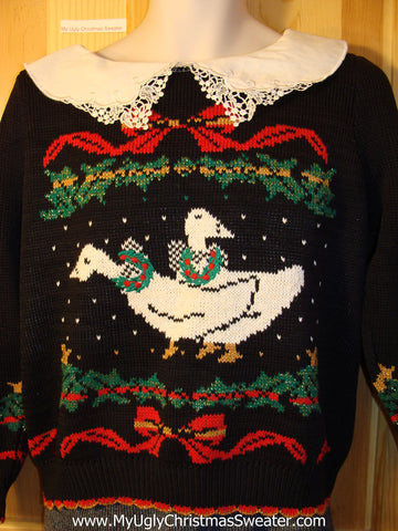 Tacky 80s Ugly Christmas Sweater with Geese and Lacey Collar (f589)