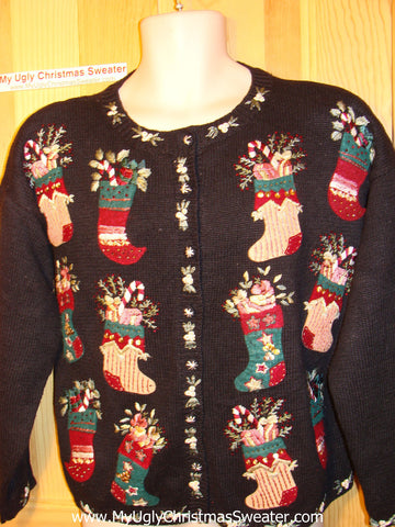 Tacky Ugly Christmas Sweater 80s Padded Shoulders & Loads of Festive Stockings (f58)