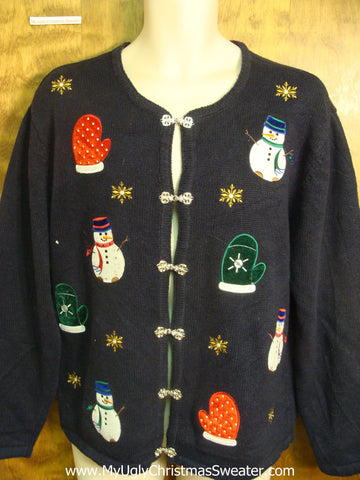 Colorful Snowmen and Mittens Bad Christmas Sweater