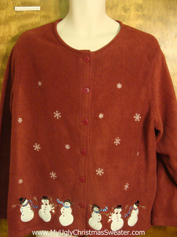 Dancing Snowmen Ugly Xmas Fleece Sweater