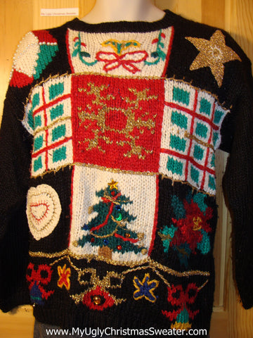 Tacky 80s Ugly Christmas Sweater with Grid of Plaid Squares and Decorations (f591)