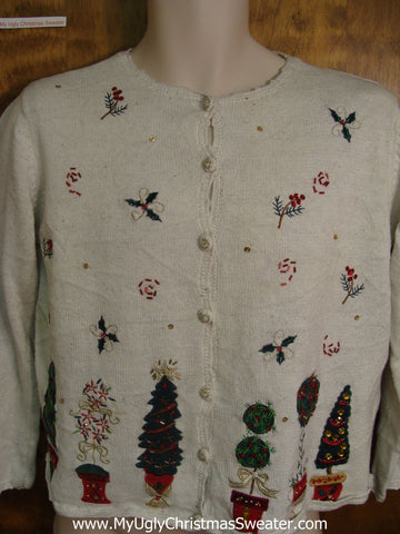 80s Decorated Trees Bad Christmas Sweater