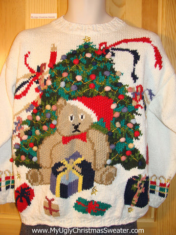 Tacky 80s Style Ugly Christmas Sweater with Huge Teddy Bear and Giant Tree (f592)