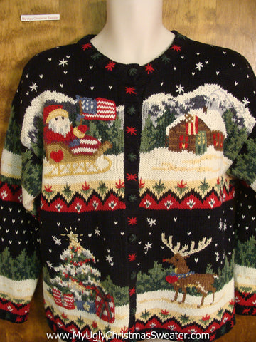 80s Patriotic Santa Bad Christmas Sweater