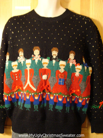 Tacky 80s Classic Ugly Christmas Sweater with Huge Choir in Festive Finery Green and Red (f593)