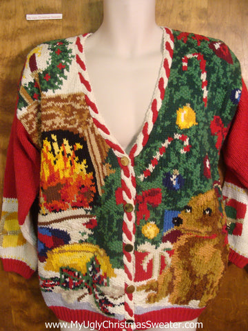 Christmas Tree and Fireplace Bad Christmas Sweater
