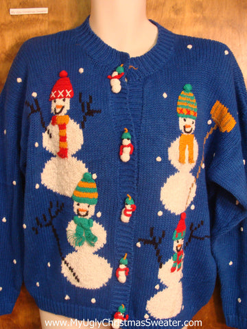 80s Colorful Snowmen Bad Christmas Sweater