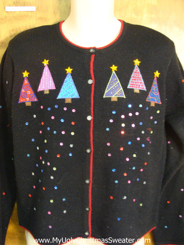 Bling Snowflakes and Trees Bad Christmas Sweater