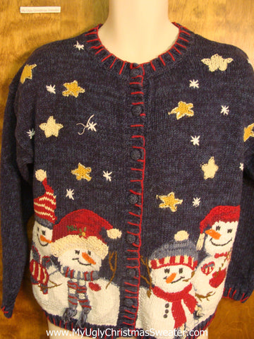Jolly Snowmen Friends Bad Christmas Sweater