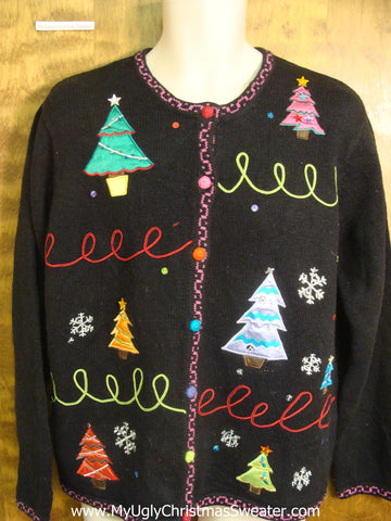 Colorful Xmas Trees Bad Christmas Sweater