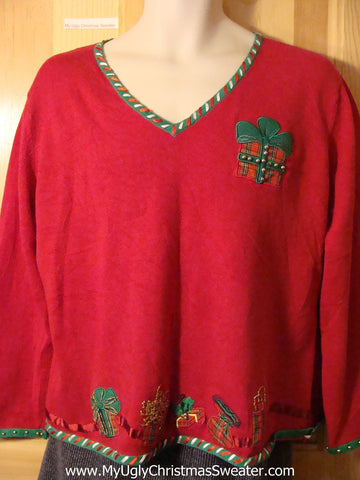 Tacky Cheap Ugly Christmas Sweater with Plaid Crafty Gifts (f595)