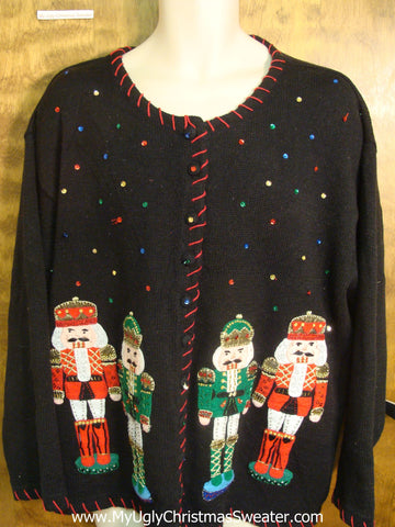 Bling Nutcrackers Bad Christmas Sweater