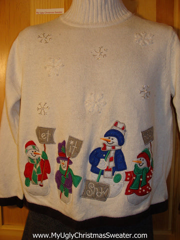 "Tacky Cheap Ugly Christmas Sweater ""Let It Snow"" Snowmen with Carrot Noses (f596)"