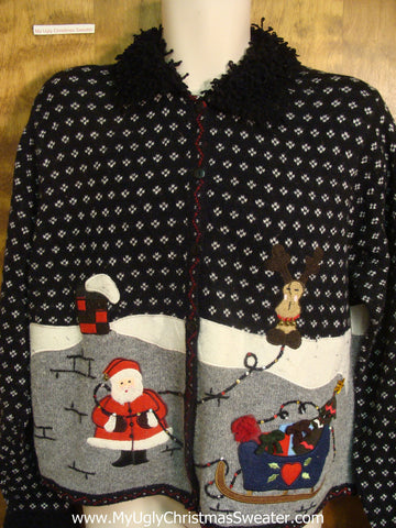 Santa Up On The Roof Bad Christmas Sweater