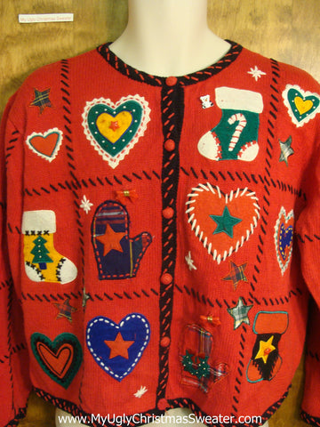 Hearts with Mittens and Stockings Bad Christmas Sweater