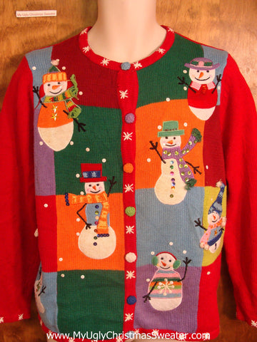 Colorful Waving Snowmen Bad Christmas Sweater