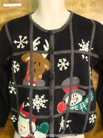 Santa and Friends Spying Bad Christmas Sweater