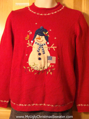 Tacky Patriotic Cheap Ugly Christmas Sweater with Snowman with a Flag (f597)