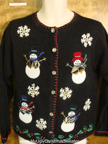 Animal Print Snowmen Bad Christmas Sweater