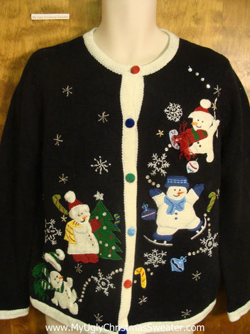 Snowman Family Having Fun Bad Christmas Sweater