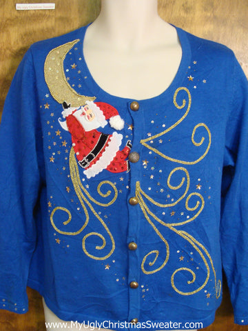 Santa On The Moon Bad Christmas Sweater