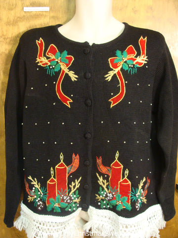 Bad Christmas Sweater with Ribbons and Candles