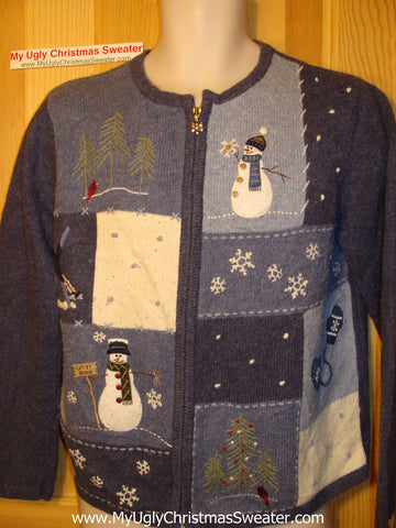 Tacky Ugly Christmas Sweater with Snowmen adn Winter Scenes (f59)