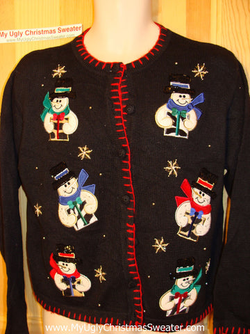 Tacky Ugly Christmas Sweater with Six Happy Snowmen (f5)