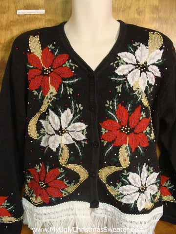 Red and White Poinsettias Ugly Xmas Sweater