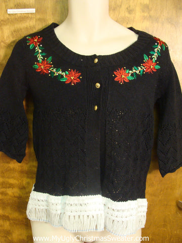 Fringe and Poinsettias Ugly Xmas Sweater with Short Sleeves
