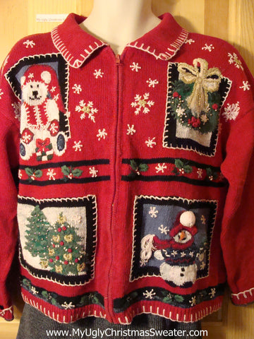 Tacky Cheap Ugly Christmas Sweater with Santa Bear, Wreath, Christmas Trees, and Carrot Nosed Snowman (f600)
