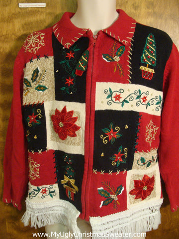 Festive Patchwork Knit Ugly Xmas Sweater