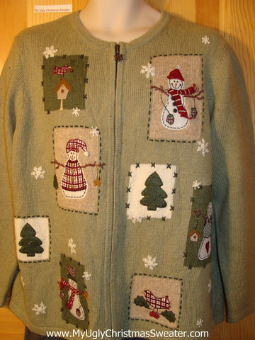 Tacky Green Ugly Christmas Sweater with Birdhouses, Snwomen, and Christmas Trees (f601)