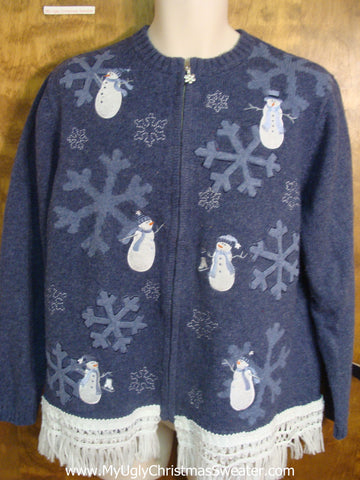Big Snowflakes and Snowmen Ugly Xmas Sweater
