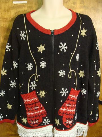 Bling Snowflakes and Mittens Ugly Xmas Sweater