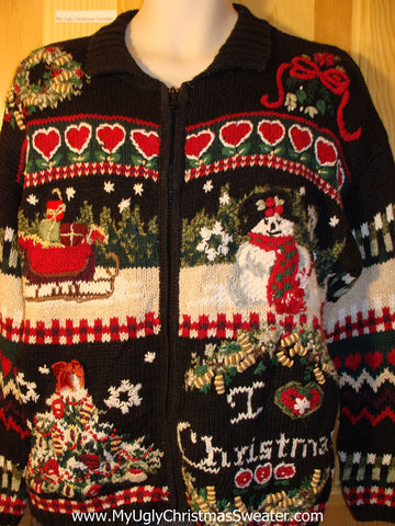 Tacky Cheap Ugly Christmas Sweater with Crafty Hearts and Front and Back Stripes of Color (f602)