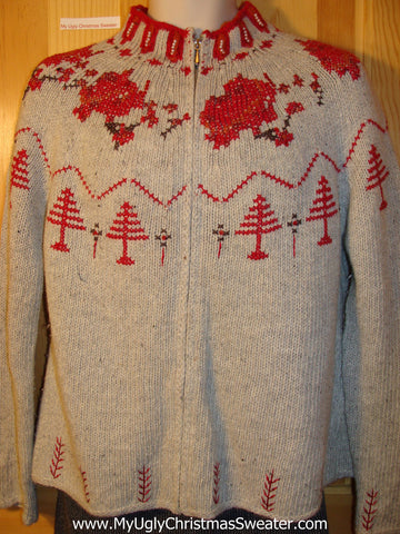 Tacky Cheap Ugly Christmas Sweater Nordic Design with Red Christmas Trees (f603)