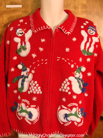 Snowman Snowball Fight Ugly Xmas Sweater