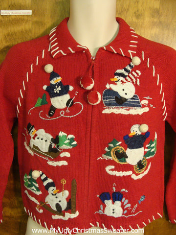 Snowmen Playing Outside Ugly Xmas Sweater