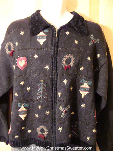 Tacky Cheap Ugly Christmas Sweater with Hearts, Ornaments, and Wreaths (f604)