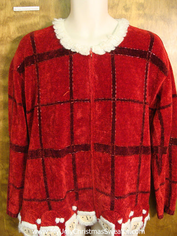 Red Checker Board Ugly Xmas Sweater