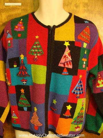 Bling Christmas Trees Ugly Xmas Sweater