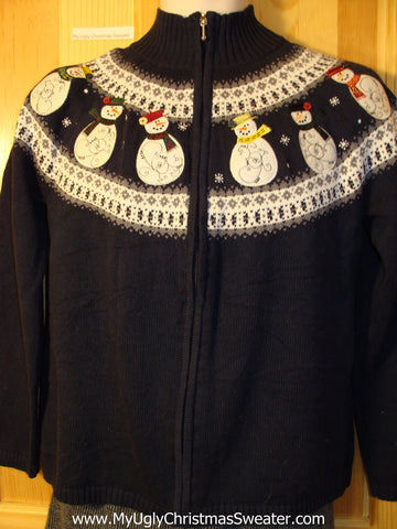 Tacky Cheap Ugly Christmas Sweater with Snowmen on Front and Back  (f606)