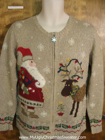 Santa with Rudolph Ugly Xmas Sweater