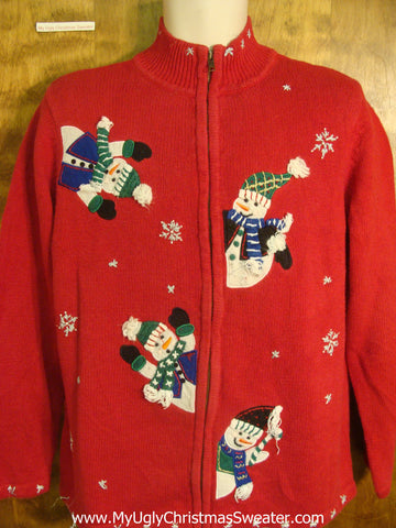 80s Jolly Snowmen Ugly Xmas Sweater