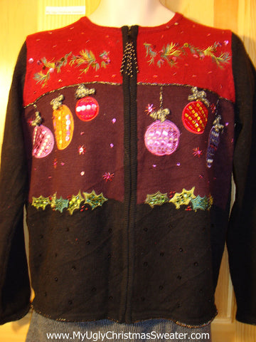 Tacky Cheap Ugly Christmas Sweater with Festive Ivy and Ornaments (f607)
