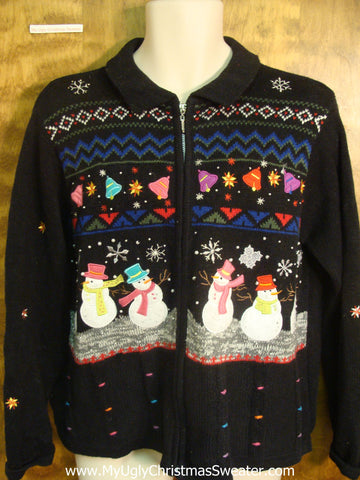 Colorful Dancing Snowmen Ugly Xmas Sweater