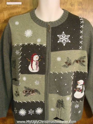 Snowman and Outdoor Fun Ugly Xmas Sweater